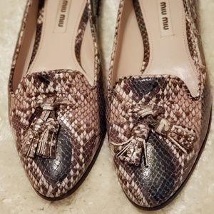 Miu Miu snake/lizard loafers